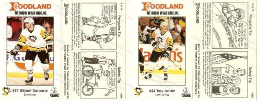 1990 Penguin Foodland Set Card #6 Delorme and Card #13 Loney