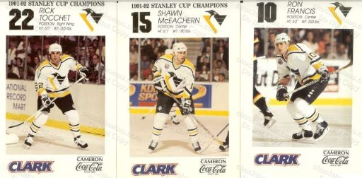 1992 Penguins Elbys COKE CLARK Regional Issue Player Cards