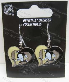 Penguin Hockey J Hook Earrings Heart Shape