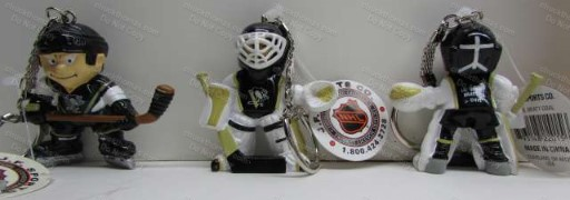 Penguin Hockey Player and Goalie Key Rings