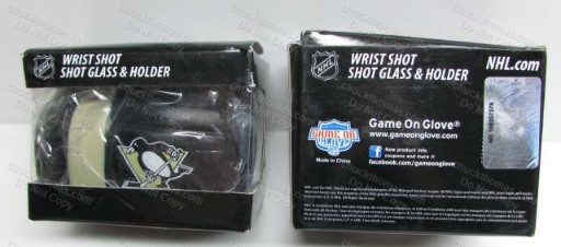 Penguins Hockey Shot Glass and Glove Holder