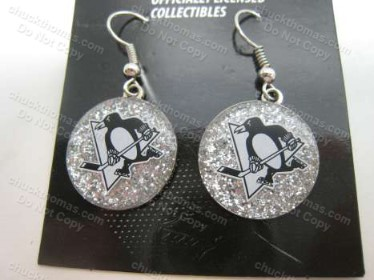 Penguin Hockey Skating Logo Sparklet J Hook Earrings