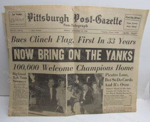 Pirates 1960 Clinch the National League Pennant ORIGINAL Front Page Post-Gazette Newspaper