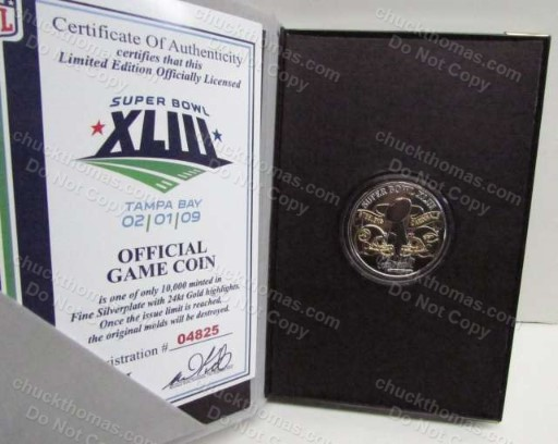 Steelers vs Cardinals Super Bowl XLIII Offical Game Flip Coin
