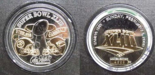 2 Tone Flip Coin Super Bowl 43 Steelers and Cardinals