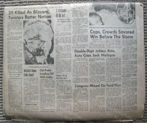 Steelers Super Bowl Chams ORIGINAL Press Paper 1/13/75