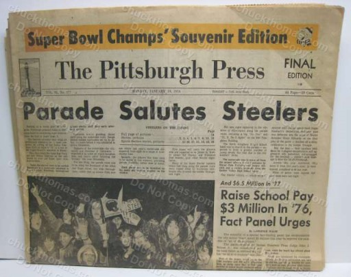 Parade Salutes Steelers 1976 Super Champs Newspaper