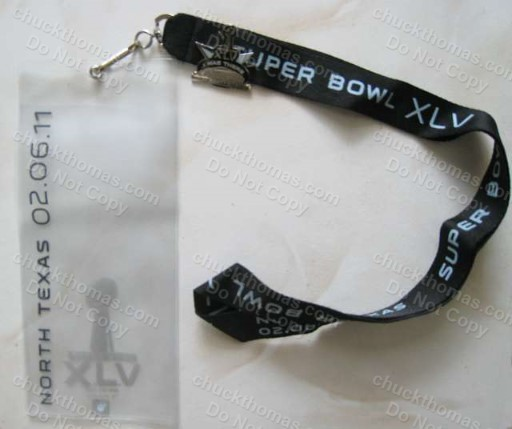 Super Bowl 45 Ticket Holder Lanyard and Pin
