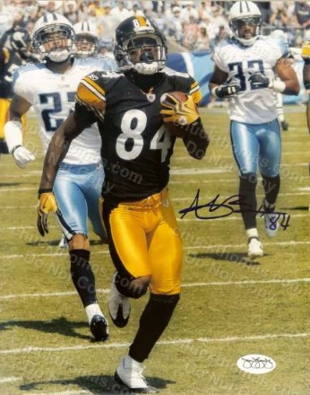 Antonio Brown Steeler Receiver Autographed Action 8x10 Photo with a JSA Sticker