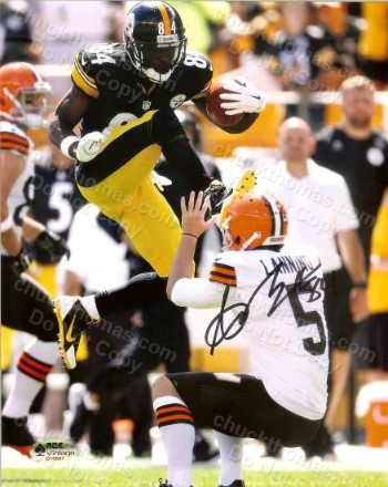 Steeler Antonio Brown Autographed Running Jump Photo with an ACE Certificate