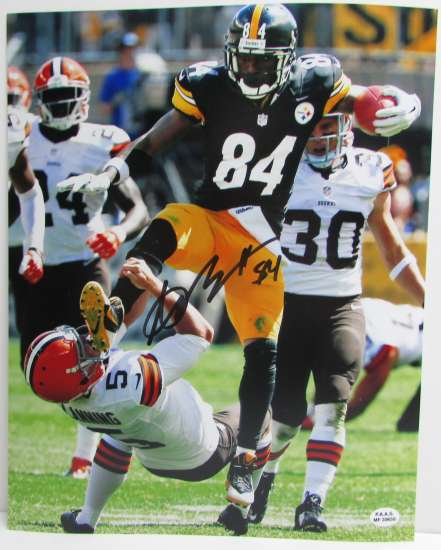 Steeler Receiver Antonio Brown Signed Action Photo with a PAAS COA