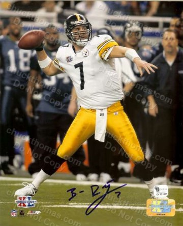 Steeler Quarterback Ben Roethlisberger Autographed 8x10 Action Photo with a Global COA