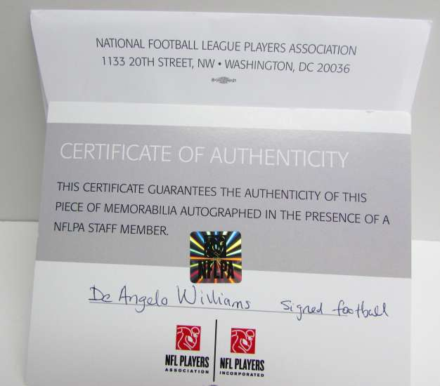 National Football League Players Association Certificate of Authenticity Deangelo Williams