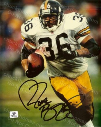 Steeler Hall of Famer Jerome Bettis Autographed Color Action 8x10 with a GAI Certified Tag