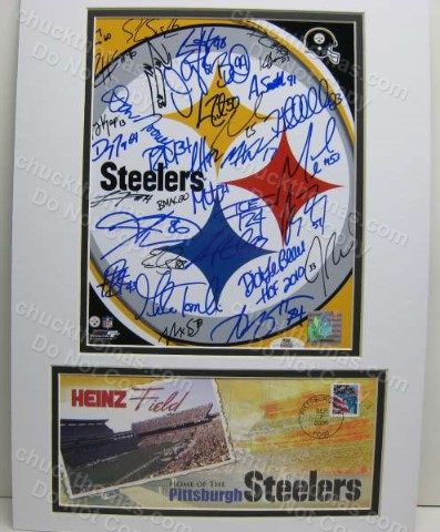 Steeler Team Auto Steel Logo Double Matted Photo