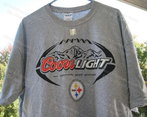 Steelers and Coors Light Logo Ash Color Tee Shirt
