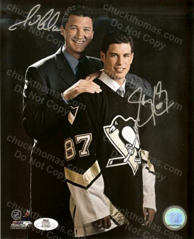 Sidney Crosby and Mario Lemieux Autographed 8x10 Color Photo with an ACE COA
