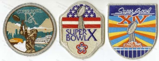 Steelers Super Bowl IX X and XIV Cloth Patches