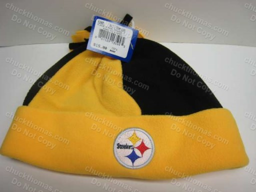 Steeler Black and Gold Tie Off Fleece Beanie