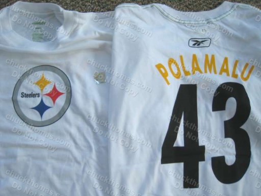 Steeler Troy Polamalu Number 43 White Tee Shirt