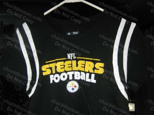 Steelers White Ringed Short Sleeve Black Top