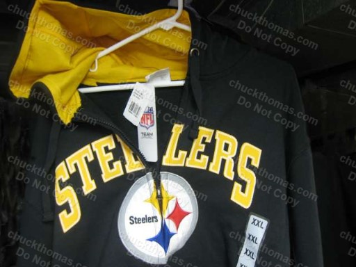Steelers Black and Gold Long Sleeve Zippered Hoody