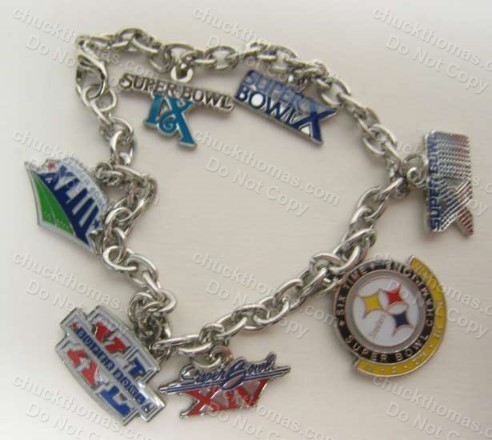 Steelers 6 Times Super Bowl Champions Charm Bracelet