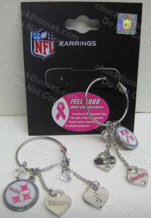 Steelers Support Breast Cancer Research Earrings