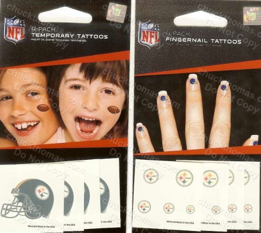Steeler Body and Fingernail Temporary Tattoos