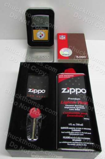 Steelers Zippo Lighter with Gift Box, Flint and Fluid
