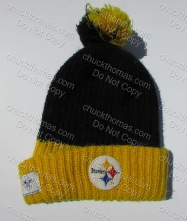 1970s Steelers Knit Pom Pom Hat Patches: Steel Logo, Gatorade and Boy Scouts