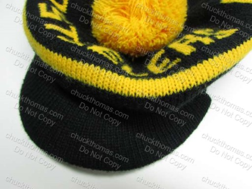 1970s Steeler Pom Pom Knit Hat with a Stiff Brim