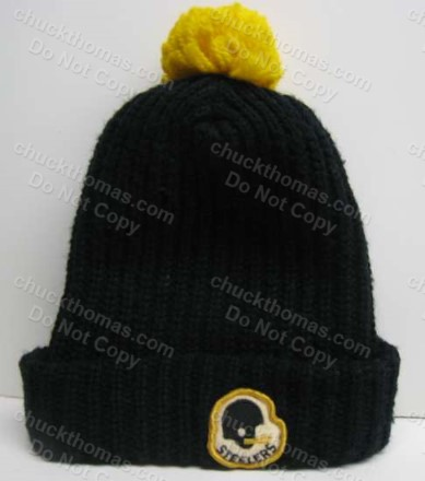 Steeler Black Tossle Knit Hat from the 1980s