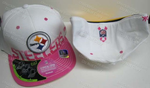 Steeler Pink and White Support Breast Cancer Reseach Ribbon Logo Ball Cap
