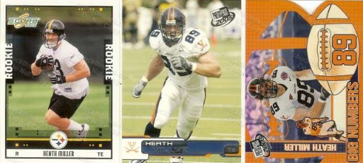 3 Steeler Heath Miller Trading Cards