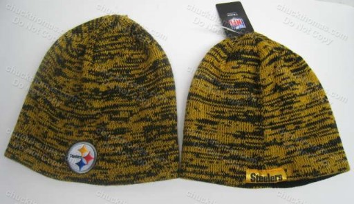 Steelers No Cuff Black and Gold Skull Cap
