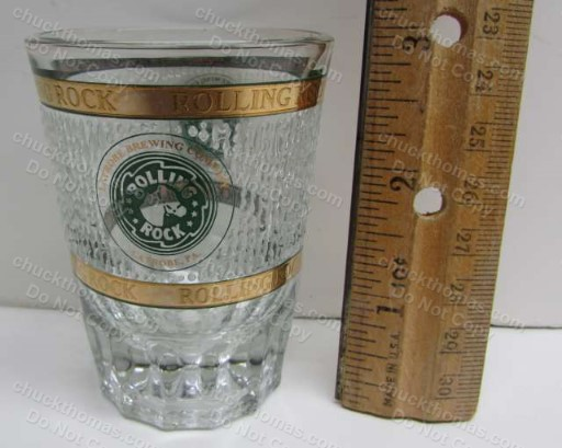 Rolling Rock Gold Edge Large Shot Glass
